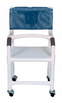 Shower Chair with Flat Stock Seat and Lap Security Bar and Casters - 22''W X 18''D X 40''H [118-3TW-F-LSB-18-MJM]