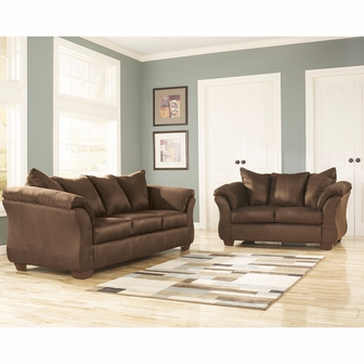 Signature Design By Ashley Darcy Living Room Set In Cafe Microfiber FSD 1109