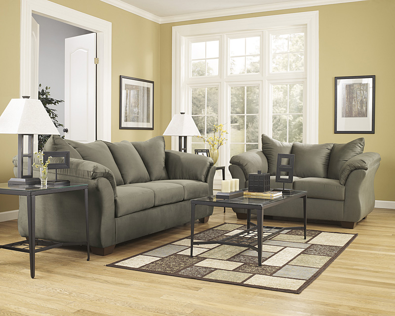 Signature Design By Ashley Darcy Living Room Set In Sage Microfiber FSD 1109