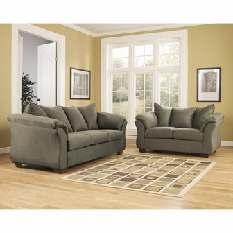 signature design by ashley darcy living room set in sage