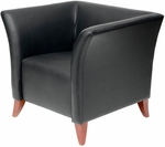 Silhouette Leather Lounge Chair with Cherry Wood Legs - Black [CLL-1-1790-B-FS-CPL]