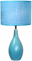 Simple Designs Blue Oval Base Ceramic Table Lamp