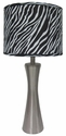 Simple Designs Brushed Steel Zebra Print Table Lamp