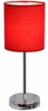 Simple Designs Chrome Basic Table Lamp with Red Shade