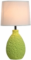 Simple Designs Green Texturized Ceramic Oval Table Lamp