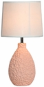 Simple Designs Pink Texturized Ceramic Oval Table Lamp