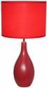 Simple Designs Red Oval Base Ceramic Table Lamp