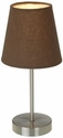 Simple Designs Sand Nickel Basic Table Lamp with Brown Shade