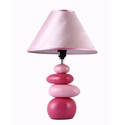 Simple Designs Shades of Pink Ceramic Stone Table Lamp