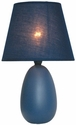 Simple Designs Small Blue Oval Ceramic Table Lamp
