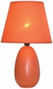 Simple Designs Small Orange Oval Ceramic Table Lamp