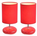 Simple Designs Stonies Red Small Stone Look Lamp - 2 Pack