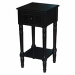 Simplicity Solid Wood End Table - Black [570915-FS-DCON]