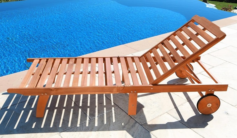 Outdoor Chaise Lounge Chair With 3 Reclining Positions And