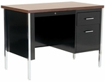 500 Series 45'' W x 24'' D x 29.5'' H Single Pedestal Desk - Black Base with Walnut Top [30078-BW-EEL]