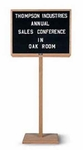 Single Pedestal Single Sided Oak Frame and Open-Faced Message Board [WH-152-MSH]