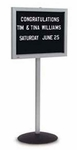 Single Pedestal Single-Sided Aluminum Frame and Acrylic Enclosed Message Board [DS-148-MSH]