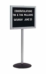 Single Pedestal Single-Sided Aluminum Frame and Open-Face Message Board [SD-148-MSH]