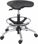 SitStar™ 26'' Dia x 27'' H Adjustable Height Aluminum Base Stool with Foot Ring - Black [6660BL-FS-SAF]
