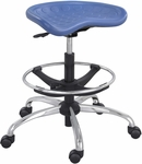 SitStar™ 26'' Dia x 27'' H Adjustable Height Aluminum Base Stool with Foot Ring - Blue [6660BU-FS-SAF]