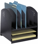 Six Upright and Two Horizontal Sections Combination Desk Rack - Black [3166BL-FS-SAF]