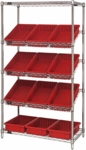 Slanted Wire Shelving with 3.5''H Dividable Grid Containers - Red [WRS-5-92035-RD-QSS]