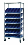 Slanted Wire Shelving with Economy Shelf Bins [WRS-7-104-QSS]