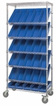 Slanted Wire Shelving with 30 Economy Shelf Bins - Blue [WRS-7-104-BL-QSS]