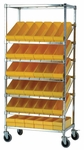 Stationary Slanted Wire Shelving with 24 Euro Drawers - Yellow [WRS-7-606-YL-QSS]