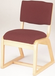 Stained Red Oak Upholstered Armless Sled Base Guest Chair [T-300-1-TRN]