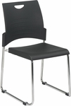 Work Smart Chrome Frame Sled Base and Plastic Stack Chair - Set of 2 [STC8302C2-3-OS]