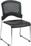 Work Smart Chrome Frame Sled Base Stack Chair with Plastic Seat and Back - Set of 2 - Black [STC865C2-3-OS]