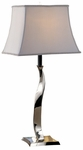 Skyline Sleek Metal Twist 28.25''H Table Lamp with Rectangular Cream Silk Shade - Chrome [09T536-FS-PAS]