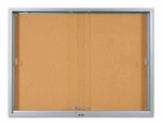 Enclosed Bulletin Board with Sliding Glass Locking Doors - 36''H x 48''W [SC-304-MSH]
