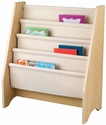 Kids Book Display Bookshelf with Four Canvas Sling Shelves - Natural