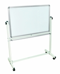 Doubled Sided 36''W x 57''H Aluminum Frame Magnetic Mobile White Board with Marker Tray [MB3624WW-FS-LUX]