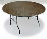 E Series Small Walnut Stain Top Plywood Core 30''Diameter Round Folding Table - 30''H [R30E-MFT]
