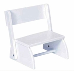Kids Size Small Sturdy Hardwood Flip Step to Sit Stool - White [15301-FS-KK]