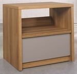 Soft Modern 24''W x 24''H Wooden Night Stand with Moccasin Accents - Pale Oak [414981-FS-SRTA]