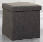 Soft Modern 15'' Square Upholstered Storage Ottoman - Dark Gray Linen [415584-FS-SRTA]