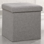Soft Modern 15'' Square Upholstered Storage Ottoman - Light Gray Linen [415583-FS-SRTA]