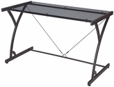 Soho Metal Frame Computer Desk with Smoked Glass Top