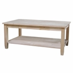 Solano Solid Parawood 42''W X 18''H Coffee Table With Display Storage Shelf - Unfinished [OT-6C-FS-WHT]