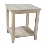 Solano Solid Parawood 22''W X 25''H End Table with Display Storage Shelf - Unfinished [OT-6E-FS-WHT]