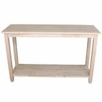 Solano Solid Parawood 48''W X 30''H Sofa Server Table With Display Storage Shelf - Unfinished [OT-6S-FS-WHT]