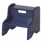 American Made Green Certified MDF Kid's 2 Step Stool with Handle - Blue [105-MDF-BL-FS-LC]