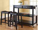 Solid Granite Top Kitchen Cart/Island in Black Finish With 24'' Black Upholstered Saddle Stools [KF300534BK-FS-CRO]