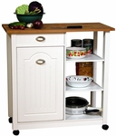 Solid Hardwood Top Double Butcher Bin with Pantry [4125-FS-VH]