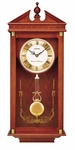 Solid Oak with Etched Glass Pendulum Wall Clock [QXH107BLH-FS-SEI]