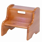 American Made Solid Wood Kid's 2 Step Stool with Handle - Honey Oak [105-WD-HO-FS-LC]